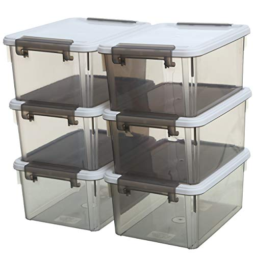 Citylife 7.4 Quart Stackable Storage Bins Plastic Storage Containers with Lids for Organizing Multi-Purpose Shoe Box, Clear Grey Bin & White Lid 6 Pack
