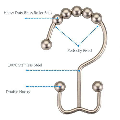 Amazer Shower Curtain Hooks Rings, Stainless Steel Shower Curtain Rings Metal Double Glide Shower Hooks for Bathroom Shower Rods Curtains, Matte Nickel, Set of 12 Hooks