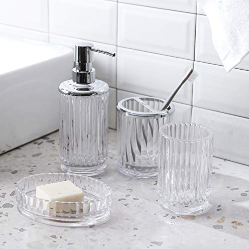 Here Is A Classic Example Of Accessories Meant To Blend Into Their Surroundings.  The Clean Lines Makes This A Classic Contribution To Any Bath.