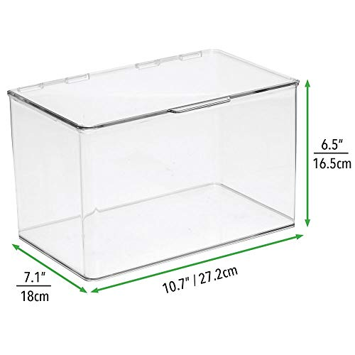 "mDesign Plastic Stackable Organizer Toy Box with Attached Lid for Storage of Action Figures, Crayons, Markers, Building Blocks, Puzzles, Craft or School Supplies - 3"" High, 8 Pack - Clear"
