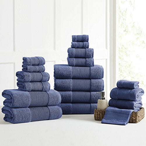 Amrapur Overseas Air Cloud 100-Percent Combed Cotton Towel Set, 18-Piece, Navy
