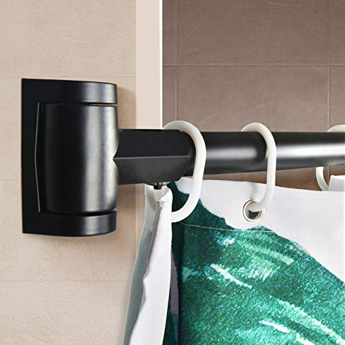 PrettyHome Adjustable Curved Shower Curtain Rod Rustproof Expandable Aluminum Metal Shower Rod 38-72 Inches Telescoping Design Exquisite Customizable for Bathroom,Black
