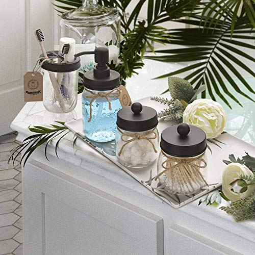 AOZITA Mason Jar Bathroom Accessories Set 4 Pcs - Mason Jar Soap Dispenser & 2 Apothecary Jars & Toothbrush Holder - Rustic Farmhouse Decor, Bathroom Home Decor, Countertop Vanity Organize - Black