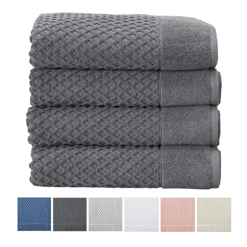 These are classic waffle textured towels.  The texturing adds surface area to hold more water but still feel light-weight.  So for kids and pets where lots of water is involved the waffle might be perfect.