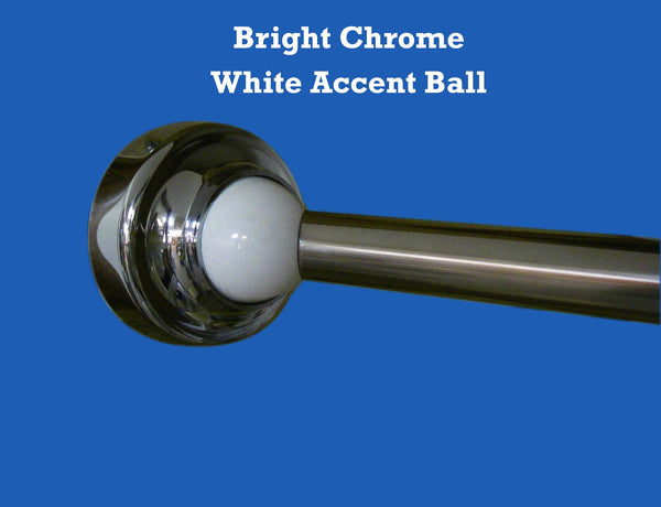 bright chrome with white accent ball... The Original, Reliable Curved Shower Rod that Rotates from Bathroom Bliss by Rotator Rod