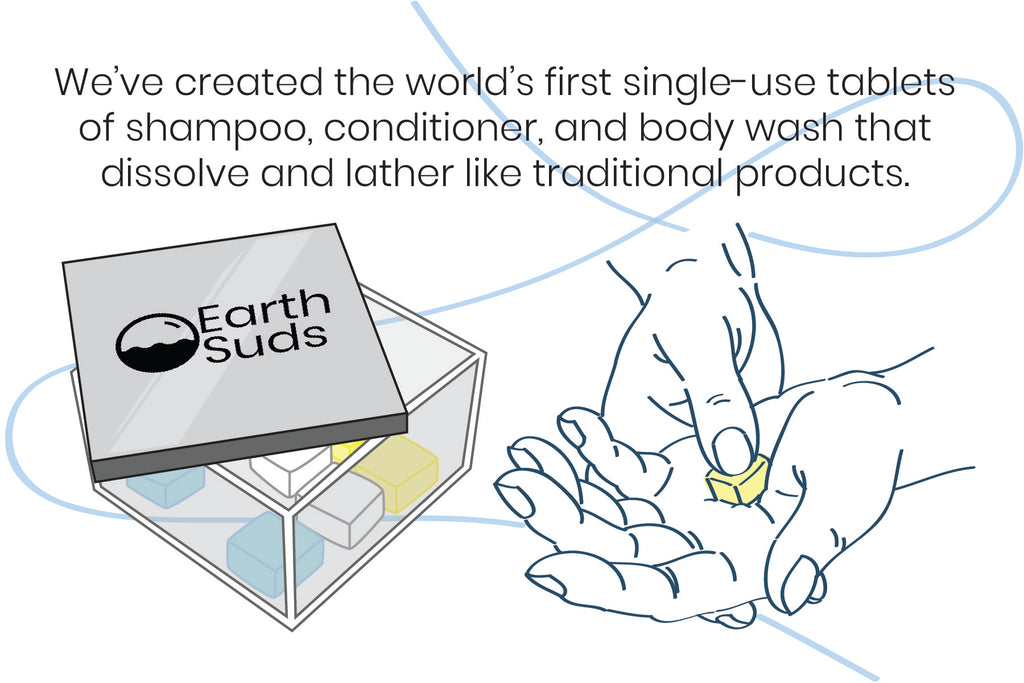 we've created single-use tablets of shampoo, conditioner, and body wash