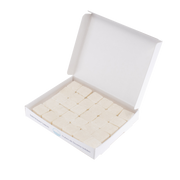 Open rectangular container with 5x6 rows of white, shampoo tablets