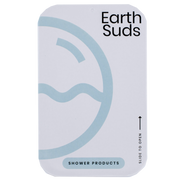 "Small tin with a sliding top that reads ""EarthSuds, Shower Products"""