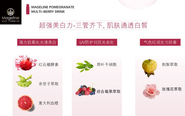 Mageline Pomegranate Multi-Berry DrinkIt is an ideal way to soothe dry skin, can give benefits to the the skin, where it will provides moisture, hydration and skin nourishment. Besides, it also good for anti-aging purpose. Being rich in vitamin C and other antioxidants, pomegranates can help delay the signs of aging. These antioxidants also fight skin inflammation and treat acne breakouts and dark spots. They also naturally brighten the skin.