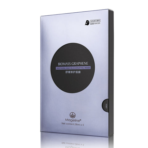 Mageline Biomass Graphene Soothing Mask. Unique mask sheet of biomass graphene - environment friendly, soft and breathable. This gentle face mask helps care for dry, sensitive skin by restoring skin texture and barrier function, refining the appearance of pores and comforting irritated, dry skin. Perfect for giving sensitive skin a comforting treat.