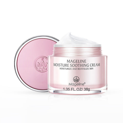 Mageline Moisture Soothing Cream. This soothing cream harmonizes, calms and deeply hydrates and moisturizes dry, irritated, redness and sensitive skin. Rapidly-absorbed and balances the moisture levels in the skin leaving skin feeling silky and pampered. This great-value cream soothes sore skin and provides an injection of moisture that lasts the entire day.