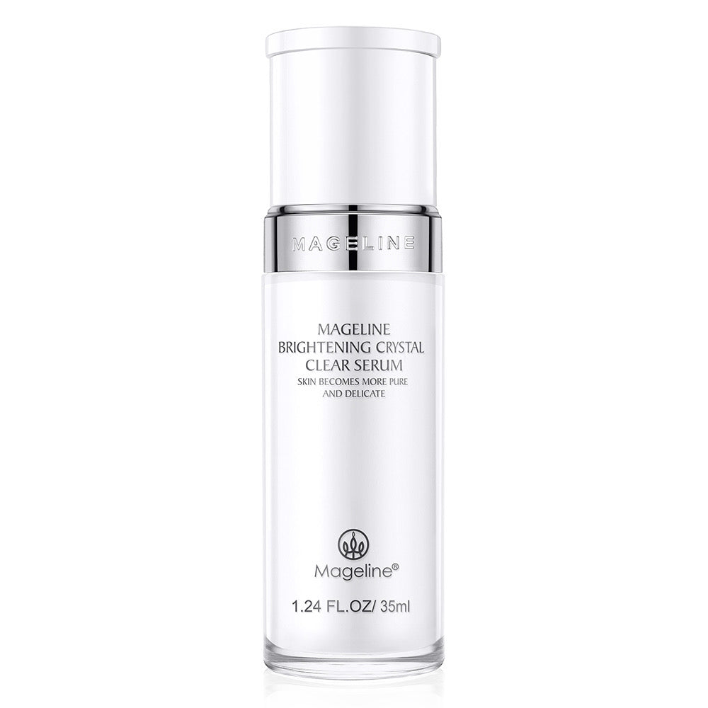 Mageline Brightening Crystal Clear Serum. ormulated with precious brightening essence gradients which absorb into skin immediately upon application, helps to improve skin roughness and dullness from the deep layer, leaving skin a plump and radiant looking, multiple recovery technology, helps to adjust skin pH level and even skin tone.