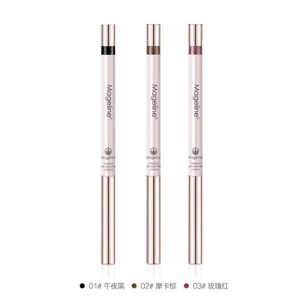 Mageline Waterproof Gel Pen Eyeliner. his water-resistant, creamy, pigmented formula is easy to work with (it doesn't skip or tug), and comes with a built-in blender to help create smoky or smudged looks, fast! Line or blend the silky-smooth tip across your lids, wait a 15 seconds, and marvel at its clean, matte finish that genuinely stays put all day