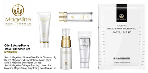 Mageline Oily & Acne-Prone Travel Skincare Set