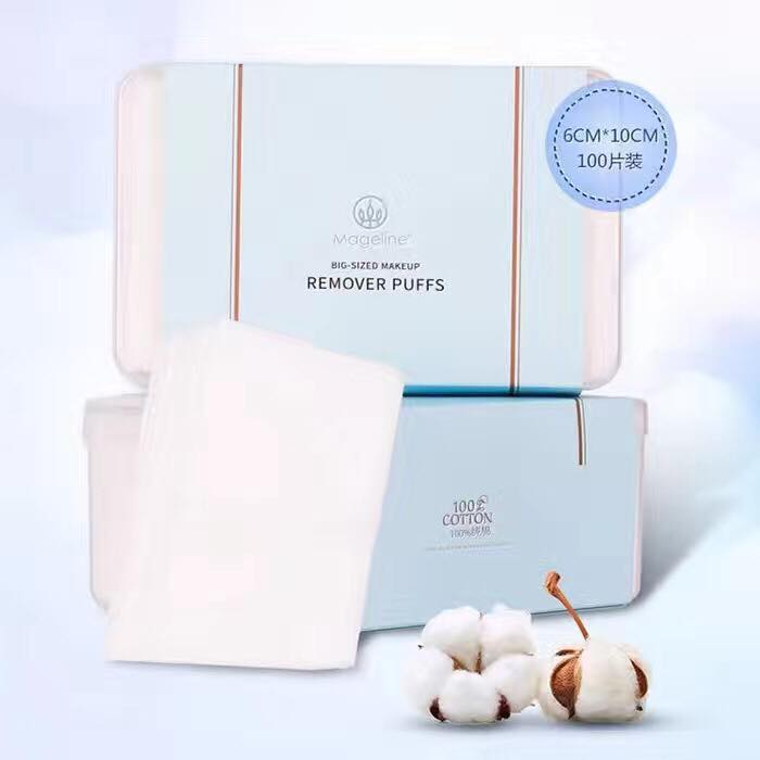 Mageline 100% Facial Cotton Pad. Soft-Feel, 100% Natural Cotton, with super-large fine reticulated cotton pad. Soft and delicate texture, and special hydraulic pressure processing of the surface. It leaves no cotton remains on the skin, and can effectively help to clean face, dirts and makeup residues.
