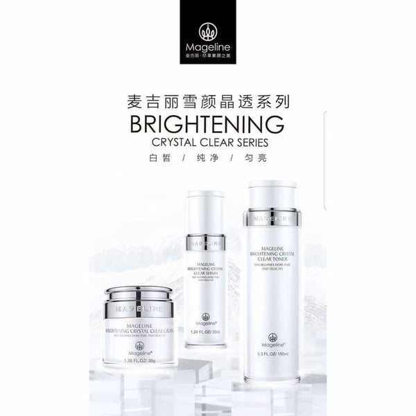 Mageline Brightening Crystal Clear Serum. Formulated with precious brightening essence gradients which absorb into skin immediately upon application, helps to improve skin roughness and dullness from the deep layer, leaving skin a plump and radiant looking, multiple recovery technology, helps to adjust skin pH level and even skin tone.