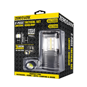 ZERODARK - 2 PIECE TACTICAL SET - COLLAPSIBLE LANTERN + HEADLAMP
