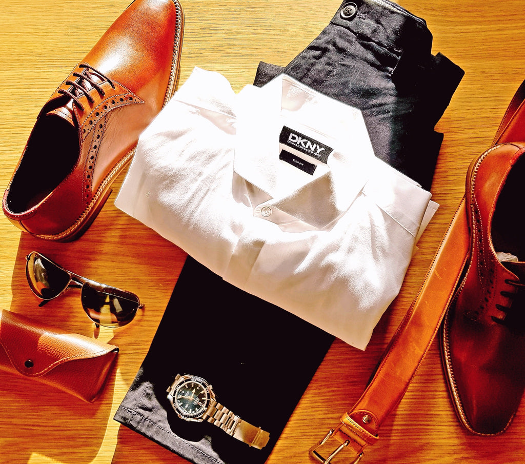 style grid featuring style Ribble, men's leather derby shoe, also shows DKNY men's smart formal shirt, Omega Seamaster watch, Rayban men's sunglasses and Paul Smith men's jeans.