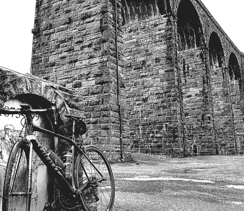road bike photographed in front of Ribblehead viaduct, Ribblehead, Yorkshire Dales.