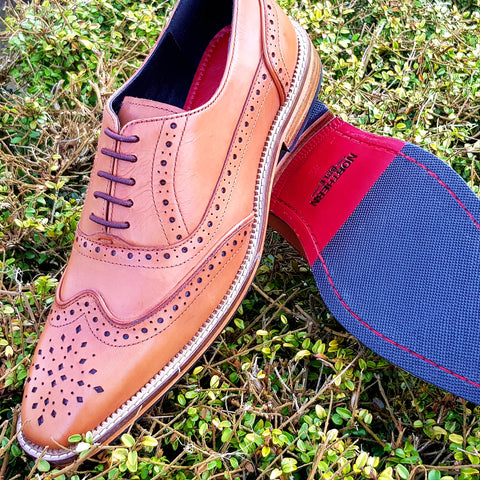 men's leather oxford brogue, hand dyed leather shoe. men's smart wedding shoe. leather brogue shoe.