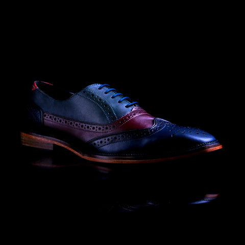 unique hand dyed men's leather shoe, leather men's brogue in custom colour
