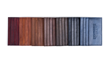 hand dyed premium quality leather credit card holders, leather card holders dyed in a colour of your choice