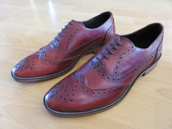 men's leather oxford brogue, men's leather shoe in mahogany, smart formal shoe, men's leather wedding shoe.