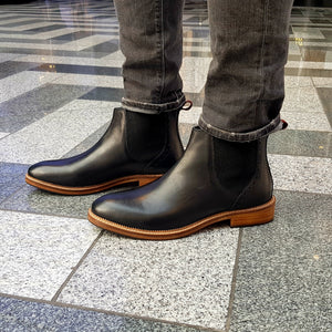 JACK ; LEATHER CHELSEA BOOT IN CLASSIC BLACK - northern sole footwear