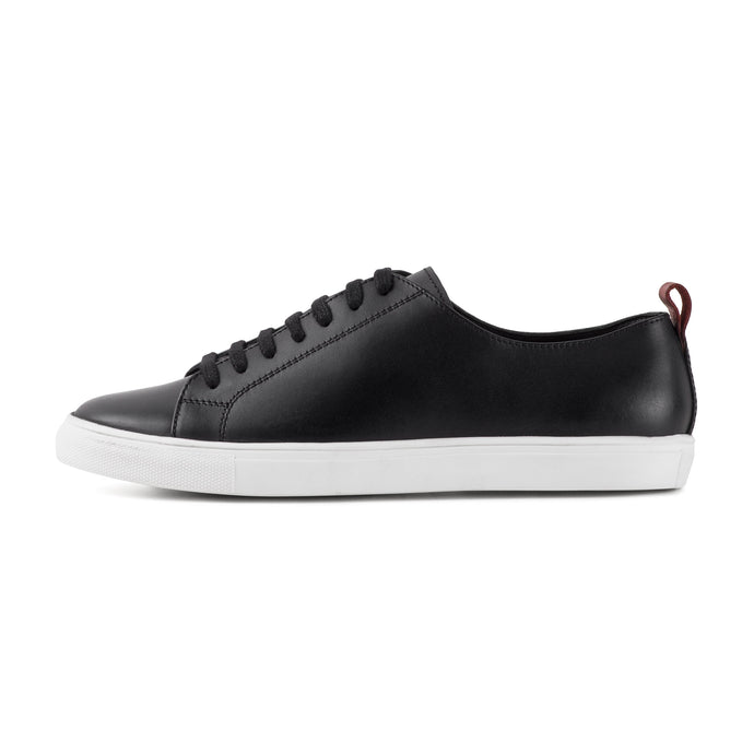 PRINCE ; SMART LEATHER PLIMSOLL IN CLASSIC BLACK - northern sole footwear