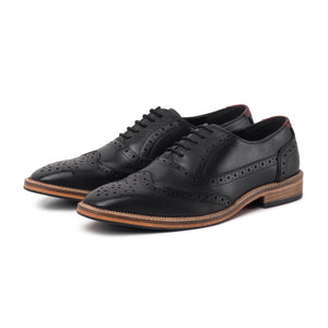 KIRK ; LEATHER OXFORD BROGUE IN CLASSIC BLACK - northern sole footwear
