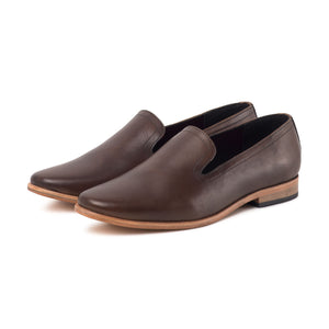 PLAYA ; LEATHER SLIP ON LOAFER HAND DYED IN RICH BROWN - northern sole footwear