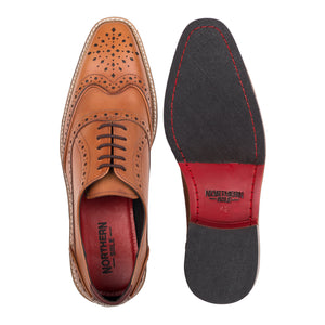 KIRK ; LEATHER OXFORD BROGUE HAND DYED IN STUNNING TAN - northern sole footwear