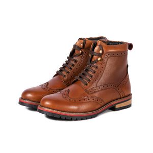 PENDLE ; LEATHER BROGUE BOOT IN RICH TAN