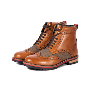 EDISFORD ; LEATHER AND TWEED BROGUE BOOT - northern sole footwear leather mens  boot. heavy duty commando sole