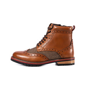 EDISFORD ; LEATHER AND TWEED BROGUE BOOT
