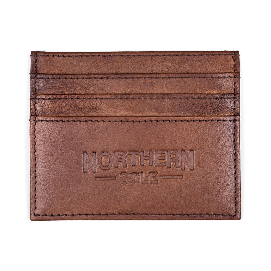 HAND DYED LEATHER CREDIT CARD HOLDER IN RICH TAN CUIR - northern sole footwear