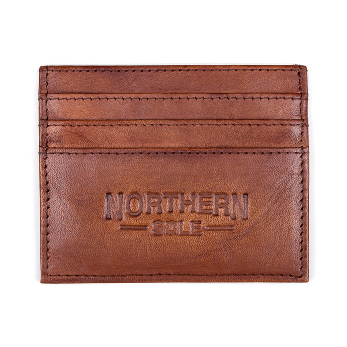 HAND DYED LEATHER CREDIT CARD HOLDER IN BRIGHT TAN - northern sole footwear
