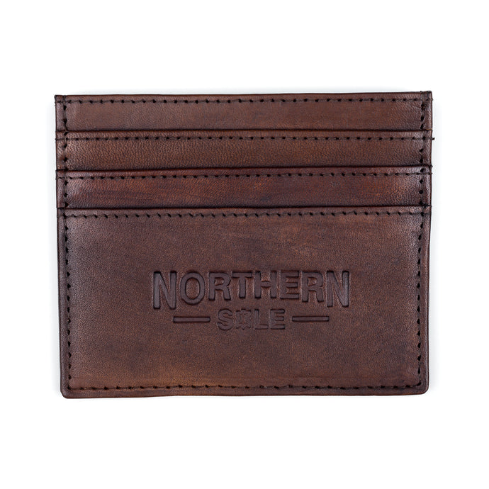 HAND DYED LEATHER CREDIT CARD HOLDER IN DARK BROWN (WOOD) - northern sole footwear