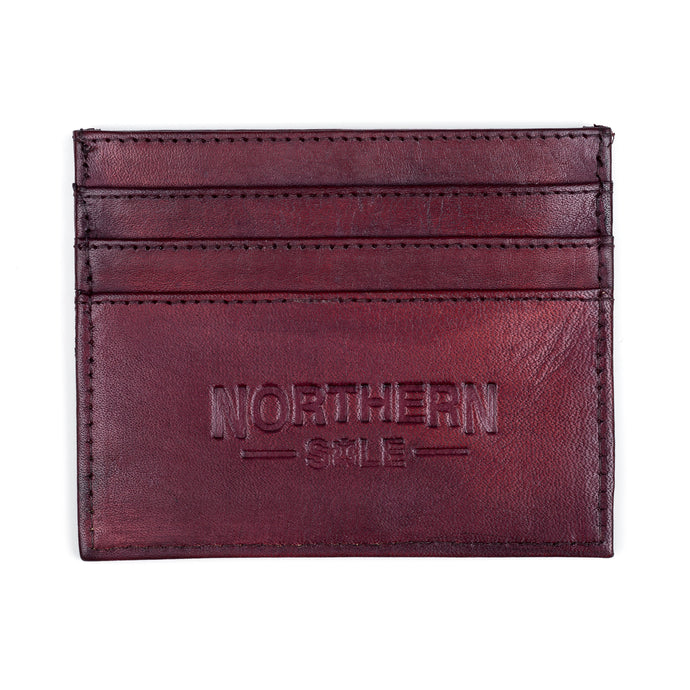 HAND DYED LEATHER CREDIT CARD HOLDER IN BORDO - northern sole footwear
