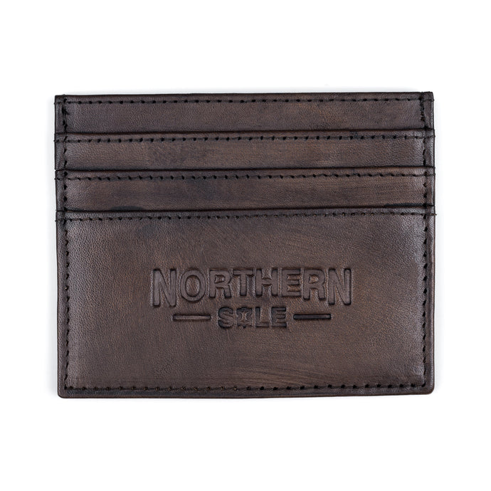 HAND DYED LEATHER CREDIT CARD HOLDER IN RICH BROWN - northern sole footwear