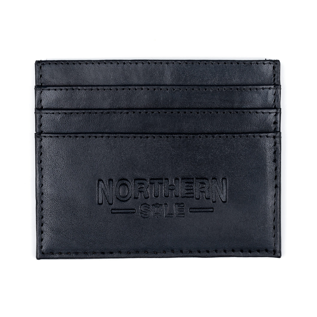 HAND DYED LEATHER CREDIT CARD HOLDER IN CLASSIC BLACK - northern sole footwear