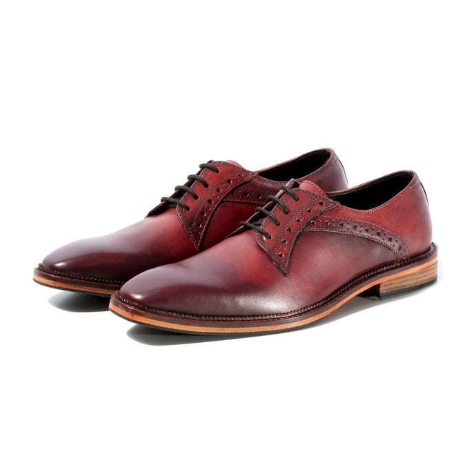 RIBBLE DERBY IN RICH RED WITH BORDO ANTIQUING SIZE 6 - northern sole footwear