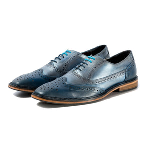 KIRK BROGUE IN CUSTOM NAVY AND BLUE STEEL METALLIC SIZE 10 - northern sole footwear
