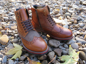 EDISFORD ; LEATHER AND TWEED BROGUE BOOT - northern sole footwear