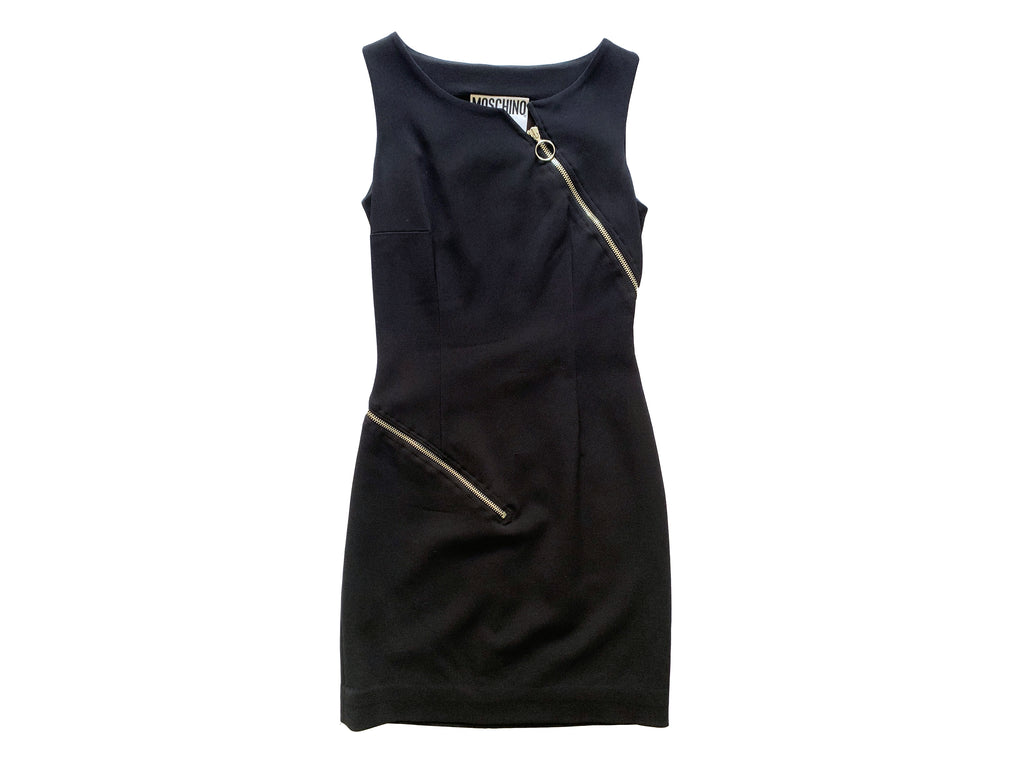 Moschino Zipper Black Dress