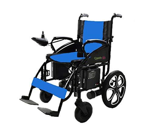 ComfyGO Electric Wheelchair Folding Motorized Power Wheelchairs, Fold Foldable Power Compact Mobility Aid Wheel Chair, Powerful Dual Motor Wheelchair, FDA Approved (Blue) - Spirit Mobility