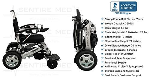 Sentire Med Forza FCX Deluxe Fold Foldable Power Compact Mobility Aid Wheel Chair, Lightweight Folding Carry Electric Wheelchair, Motorized Wheelchair, Powerful Dual Motor Wheelchair - Spirit Mobility
