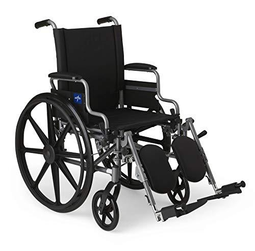 "Medline Lightweight & User-Friendly Wheelchair With Flip-Back, Desk-Length Arms & Elevating Leg Rests for Extra Comfort, Gray, 18"" Seat - Spirit Mobility"