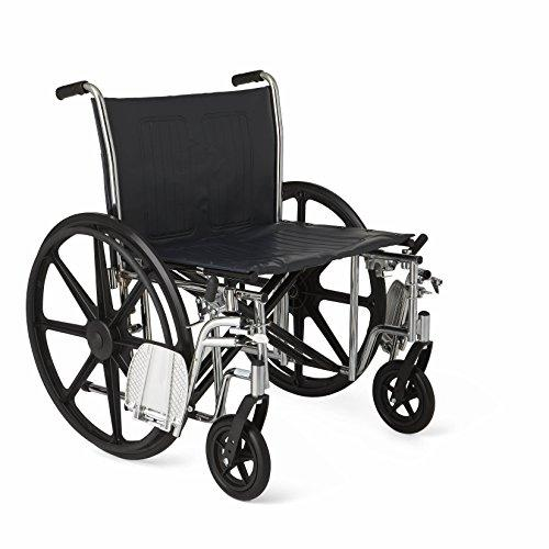 "Medline Excel Extra-Wide Wheelchair, 24"" Wide Seat, Desk-Length Removable Arms, Swing Away Footrests, Chrome Frame - Spirit Mobility"