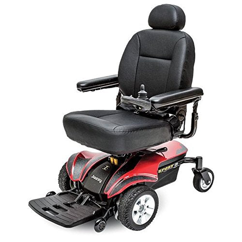 Pride Mobility - Jazzy Sport 2 - Front-Wheel Drive Power Chair - Jazzy Red - Spirit Mobility